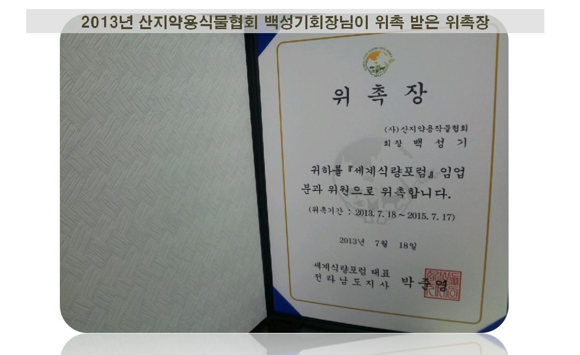 2013년 위촉장 세계식량포럼.png